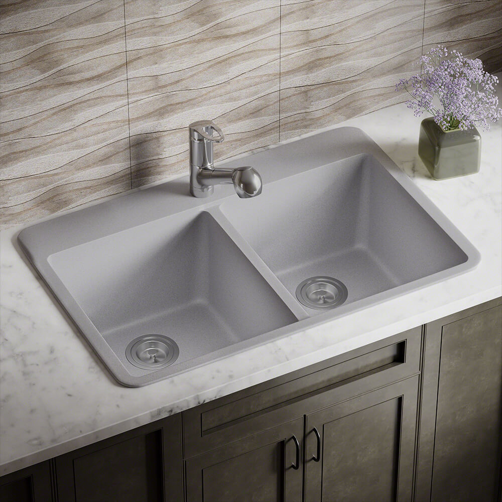 P208TS Double Equal Bowl Topmount AstraGranite Sink