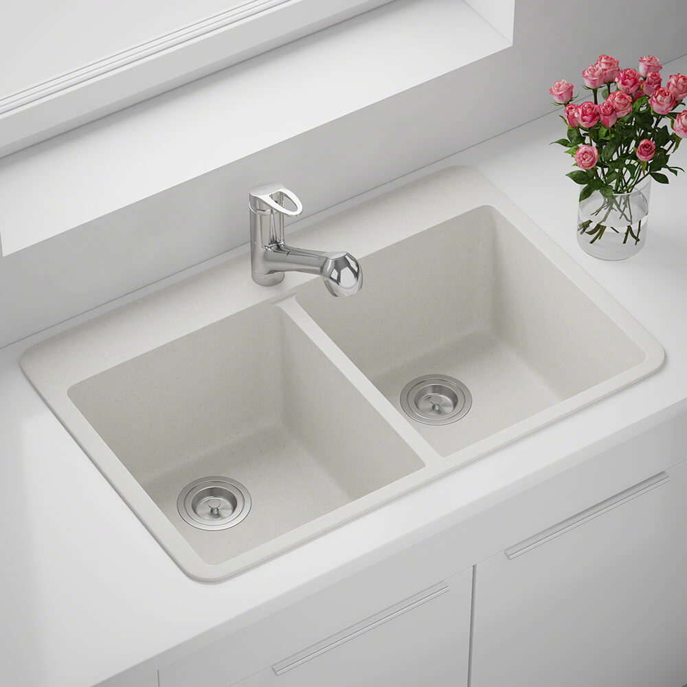 P208TW Double Equal Bowl Topmount AstraGranite Sink