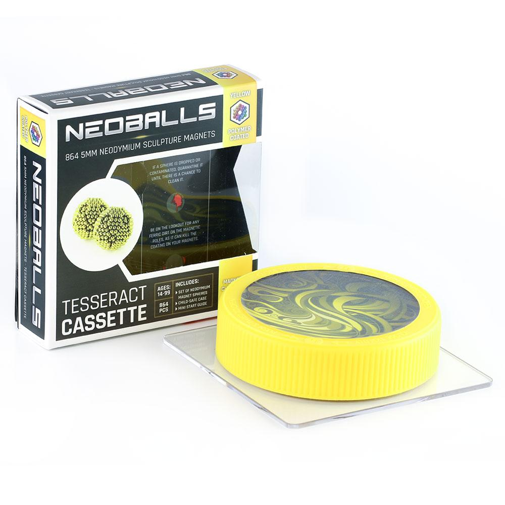 yellow neoballs tesseract cassette by zen magnets