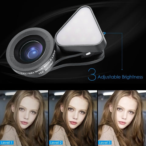 Clip-on Flash Light & Wide-angle Lens For iPhone/Samsung + Most Smartphones