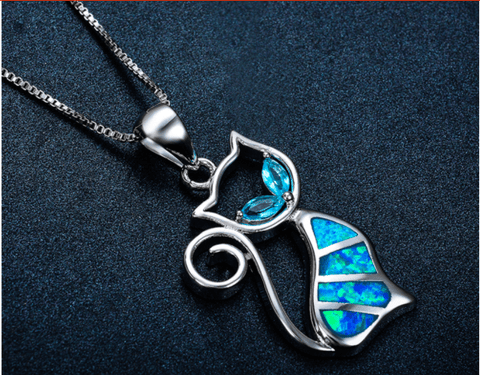 Image of Blue Fire Gems Cat Necklace