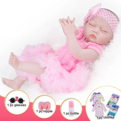 Baby Doll Girl Sleeping in a Pink Outfit