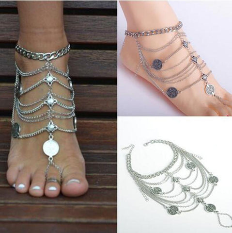 Image of Silver Coin & Beads Anklet