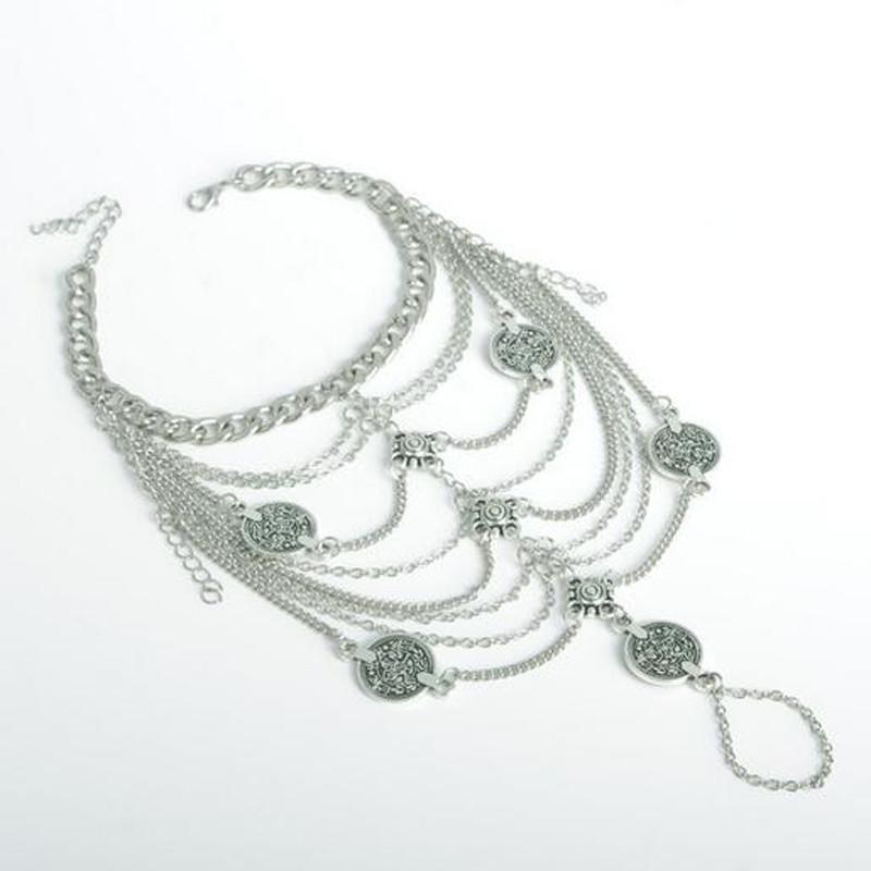 Silver Coin & Beads Anklet