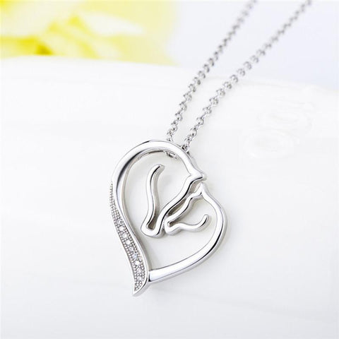 Heart & Horse Pendant Necklace (925 Sterling Silver)