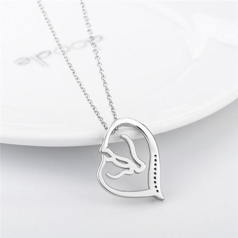 Image of Heart & Horse Pendant Necklace (925 Sterling Silver)