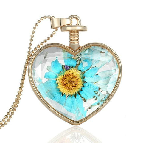 Crystal Glass Flower Heart Pendant & Necklace
