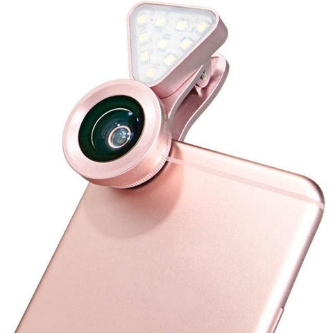 Image of Clip-on Flash Light & Wide-angle Lens For iPhone/Samsung + Most Smartphones