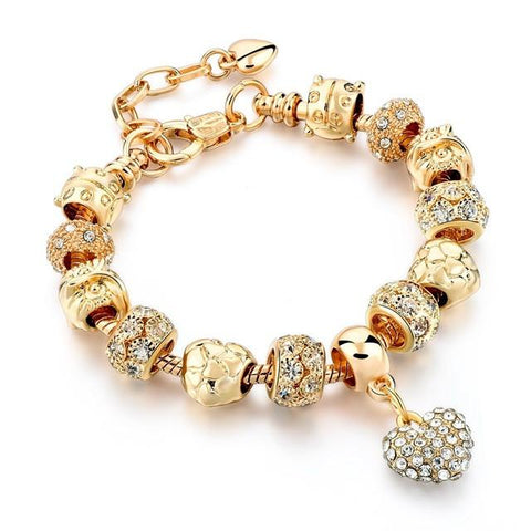 Gold Crystal Heart Charm Bracelet