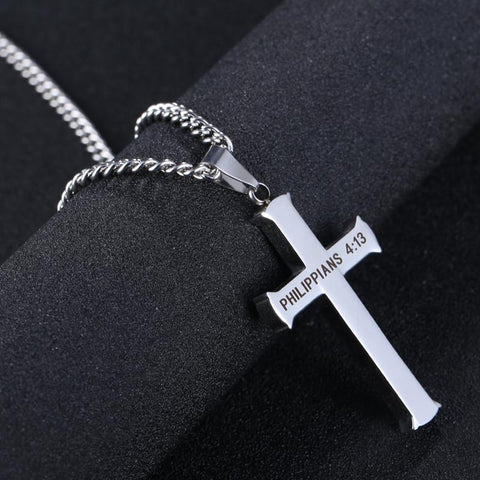 Image of Philippians 4:13 Stainless Steel Cross & Necklace