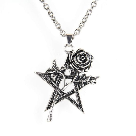 Vintage Rose Pentagram Necklace