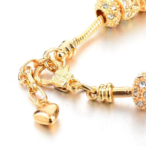 Image of Gold Crystal Heart Charm Bracelet