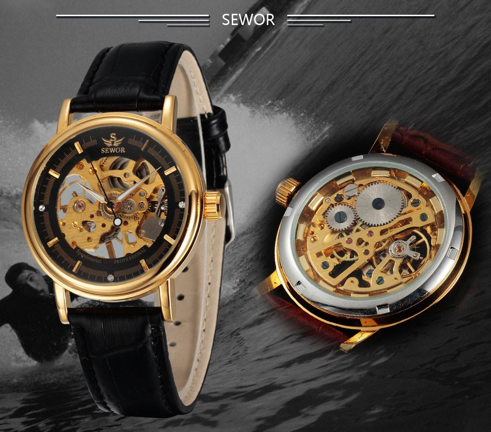 SEWOR Skeleton Leather Watch