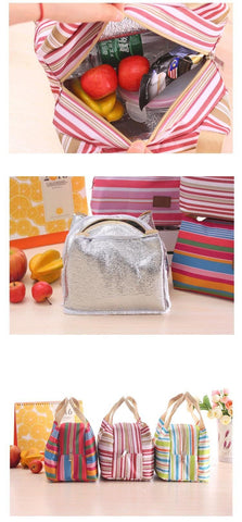 Image of Pin Stripe Thermal Lunch Bag