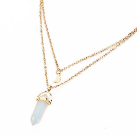 Image of Moon Crystal Pendant Necklace