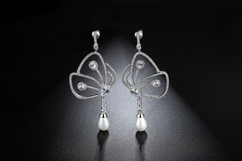 Image of Butterfly Pearl Earrings