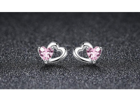 Double Heart Pink Zirconia Earrings