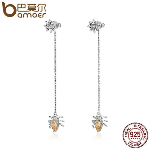 Image of Sterling Silver Spider Drop Earrings