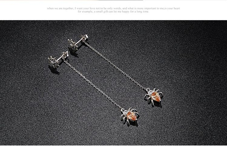 Sterling Silver Spider Drop Earrings