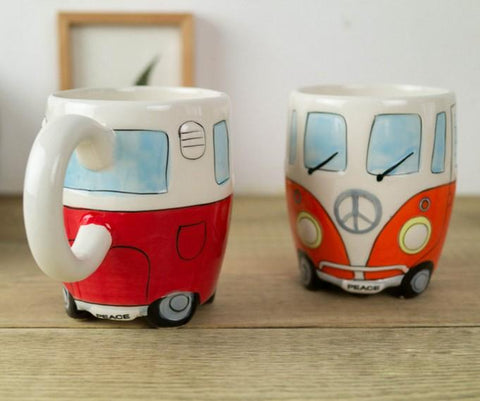 Hand Painted 1960's Bus Mugs