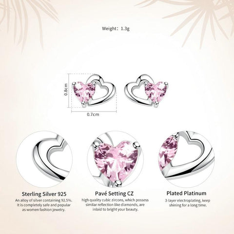Image of Double Heart Pink Zirconia Earrings