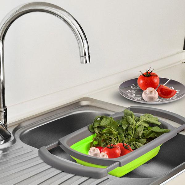 Collapsible Over-The-Sink Strainer Board