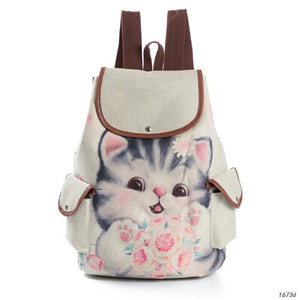 Kitty Cat Canvas School Backpack