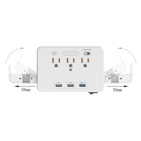 Image of 3 x AC & USB Outlet + Phone Holder
