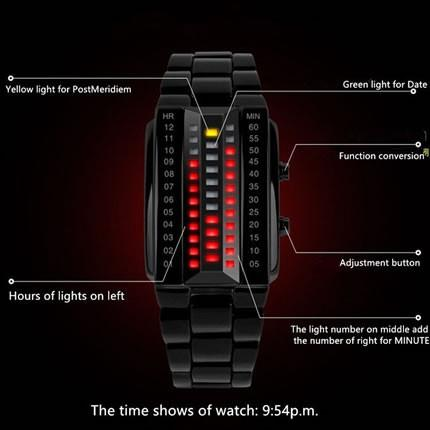 KIT - Red Binary Digital LED Watch (Stainless Steel)