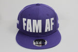 FAM AF Oversize Logo Embroidered Snapback White x Purple