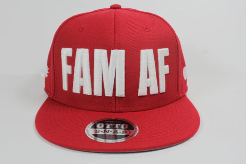 FAM AF Oversize Logo Embroidered Snapback White x Red