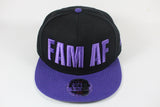 *LIMITED* FAM AF Oversize Logo Embroidered Snapback Purple x Black x Purple