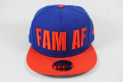 *LIMITED* FAM AF Oversized Logo Embroidered Snapback Orange X Blue