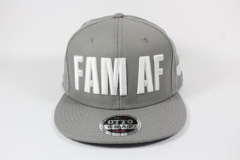 FAM AF Oversize Logo Embroidered Snapback White x Grey