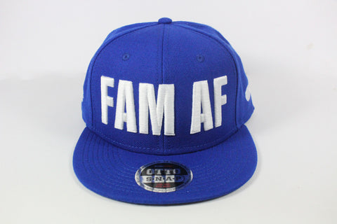FAM AF Oversize Logo Embroidered Snapback White x Royal