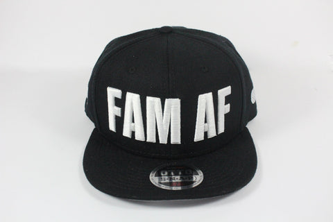 FAM AF Oversize Logo Embroidered Snapback White x Black