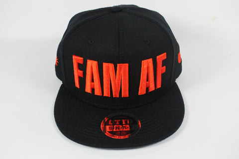 FAM AF Oversized Logo Embroidered Snapback - Orange X Black