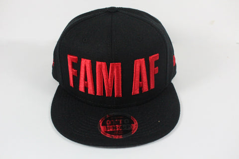 FAM AF Oversize Logo Embroidered Snapback Red x Black