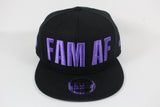 FAM AF Oversize Logo Embroidered Snapback Purple x Black