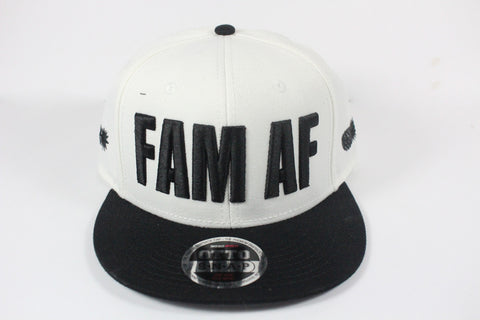 *LIMITED* FAM AF Oversized Logo Embroidered Snapback Black X White