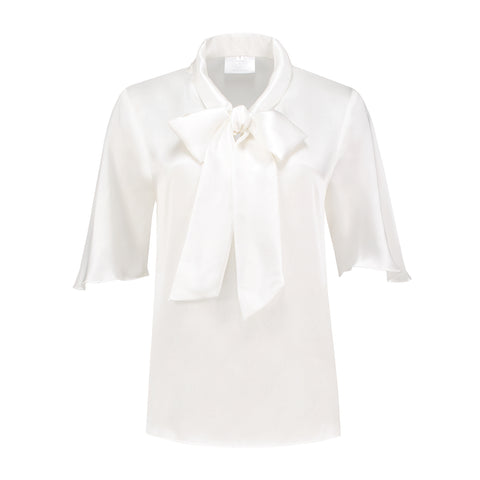 Short sleeve white lily blouse