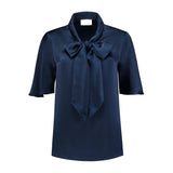 Short sleeve navy blue blouse