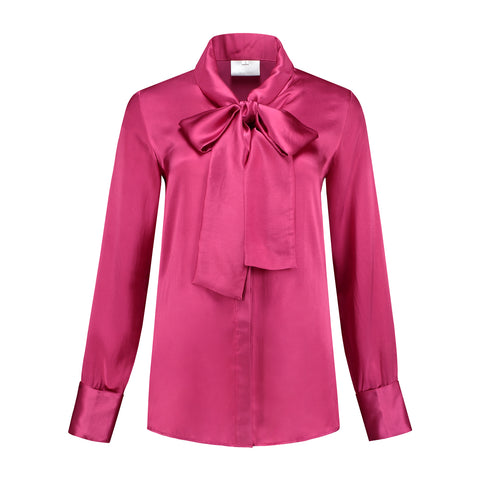 Micro Satin Bow Blouse Fuchsia