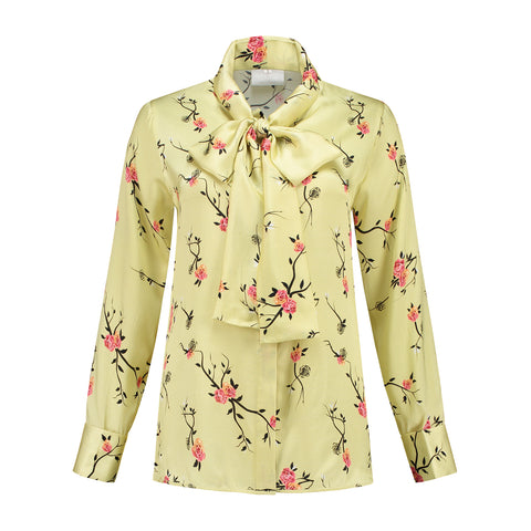 Silk Bow Blouse Yellow Roses