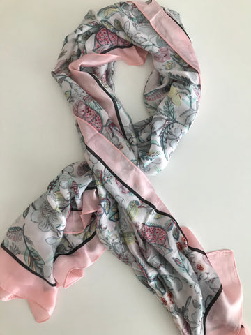Silk scarf light pink flowers
