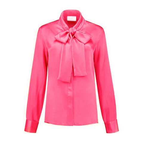 Micro Satin Bow Blouse Pink