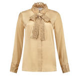 Silk Bow Blouse Golden lace