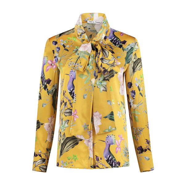 Silk bow blouse Yellow Birds
