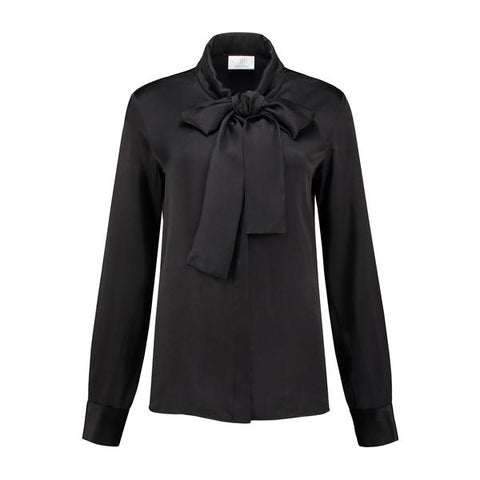 Micro Satin bow blouse Black Tulip
