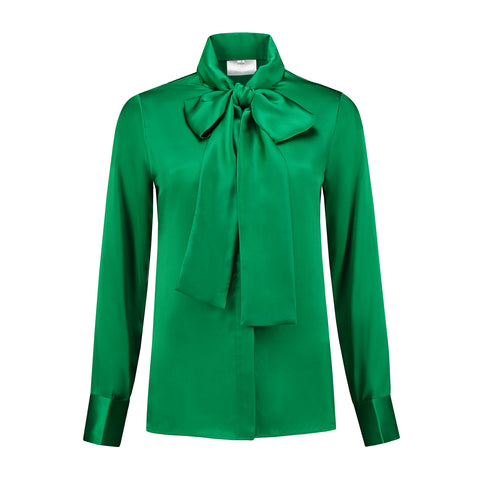 Micro satin Bow Blouse Jolly Green
